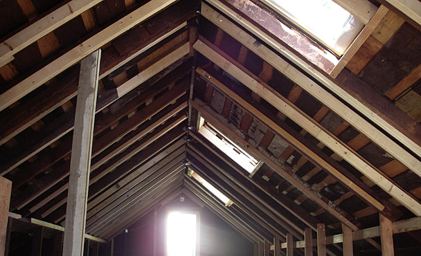 Attic before, with skylights cut