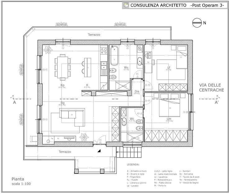 Consulenza Architetto  Architetto On Line Studio Architettura Roma  PIANTA APPARTAMENTO 100 mq ...