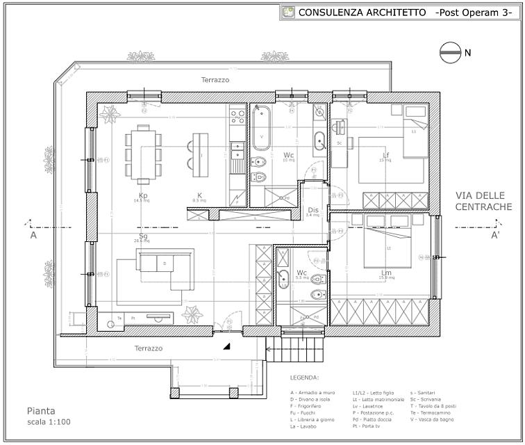 Architetto on line progetto appartamento silver for Consulenza architetto