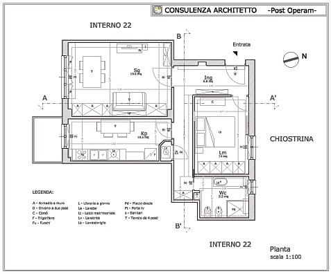 ARCHITETTO ROMA  ARCHITETTO ON LINE  CONSULENZA ARCHITETTO  Progetto Appartamento 60 mq Roma