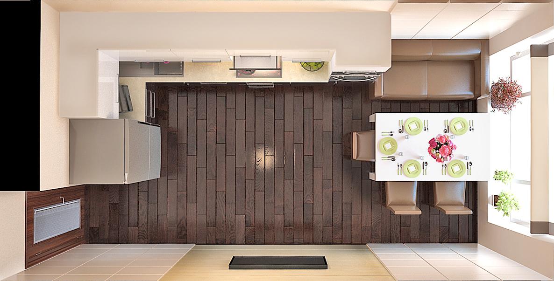 Виды дизайна кухонь вид сверху