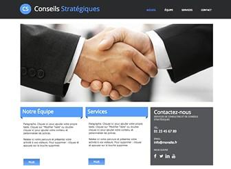 Conseil Stratégique Template - Ce template de site web raffiné est prêt à promouvoir votre société de conseil ou financière. Avec son design soigné et sa mise en page aérée, c'est le support idéal pour mettre en avant les services de votre entreprise, vos projets et vos qualifications professionnelles.
