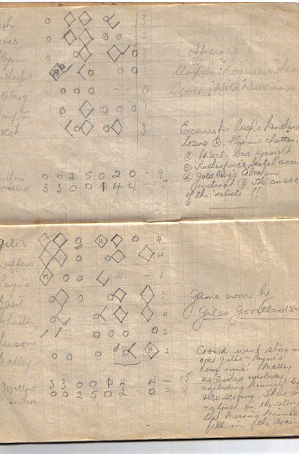 AC's baseball scorecard