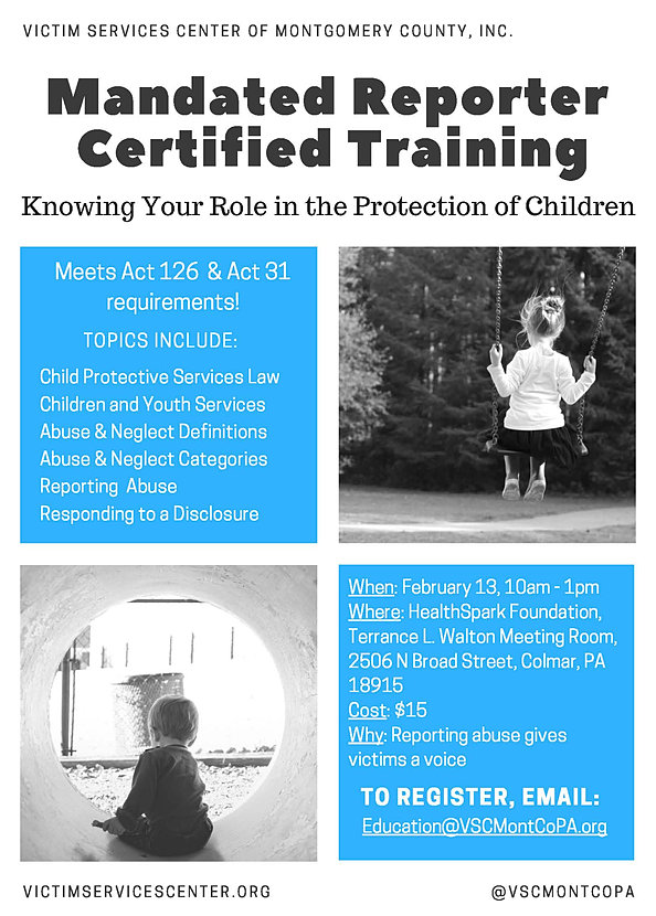 Mandated Reporting Certified Training 2016 Flier