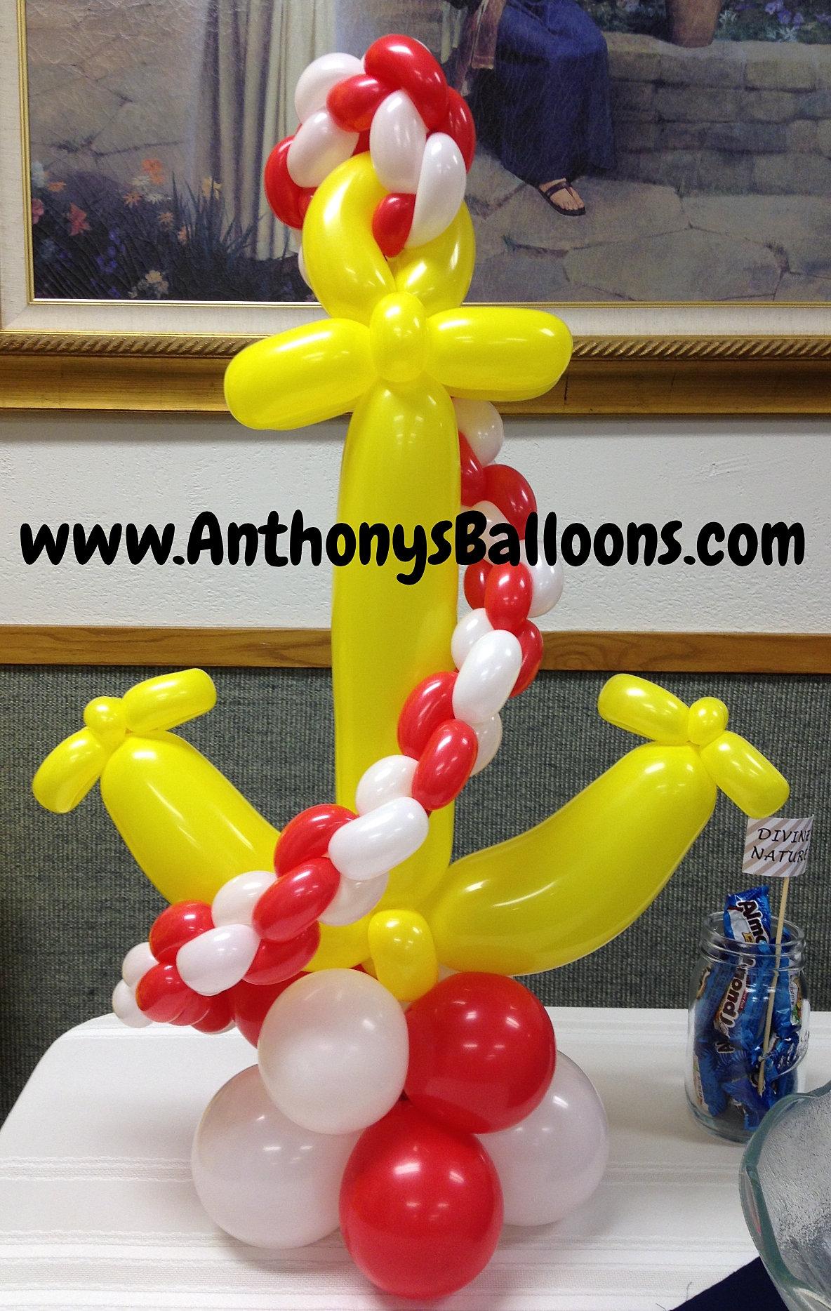 Chicago milwaukee balloon decor anchor balloon centerpiece for Anchor balloon decoration