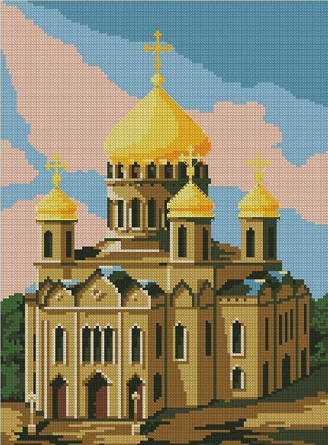 Храм. Схема вышивки крестом