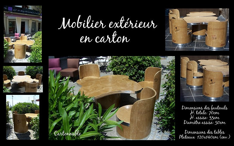 cartonnable meubles en carton cr ations en papier m ch stages mobilier ext rieur en carton. Black Bedroom Furniture Sets. Home Design Ideas