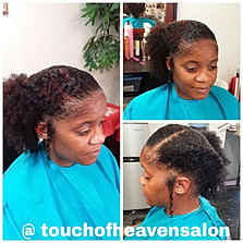 Twisted halo with side puff for A touch of heaven salon