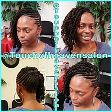 Braided style kinky twists for A touch of heaven salon