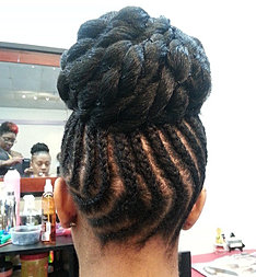 Braided faux hawk with duck tail long hairstyles for A touch of heaven salon
