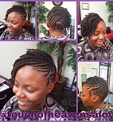 Flat twist updo for A touch of heaven salon