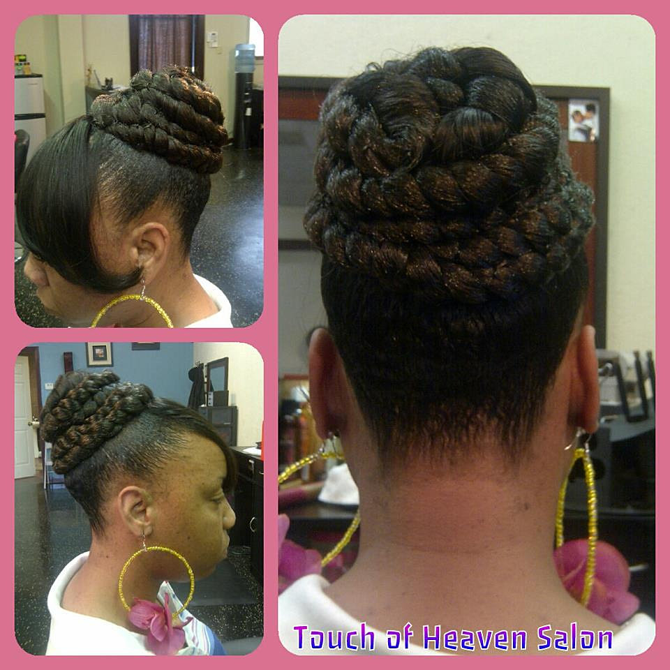 Touch of heaven salon high braided bun with bang for A touch of heaven salon