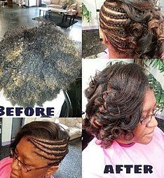 Natural braids with side swept curls for A touch of heaven salon