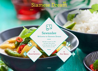 Thai Restaurant Template - A polished template with Eastern-inspired design. Customize the menu to entice customers and take advantage of the full-image background to display one of your tasty dishes in delicious detail. Create a website to discover your newest regulars.