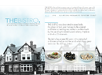 My Bistro Template - Sometimes a beautiful photograph and sleek page navigation is all you need for a perfect website. This tasteful layout is ready to go. Simply customize the menus, add your own images, publish with a click, and wait for your visitors to leave their compliments.