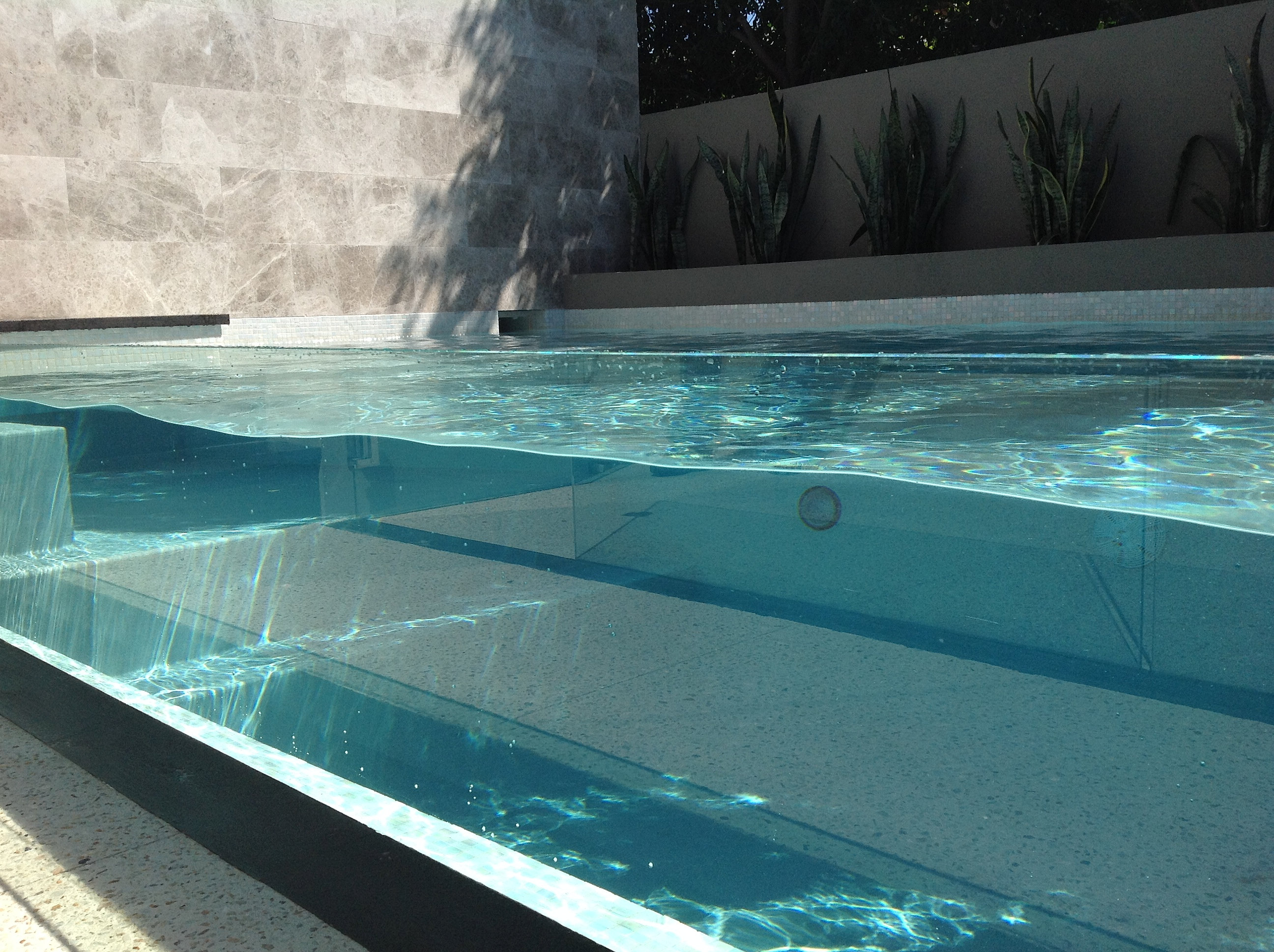 Designer concrete swimming pool buildperth glass window for Glass swimming pool