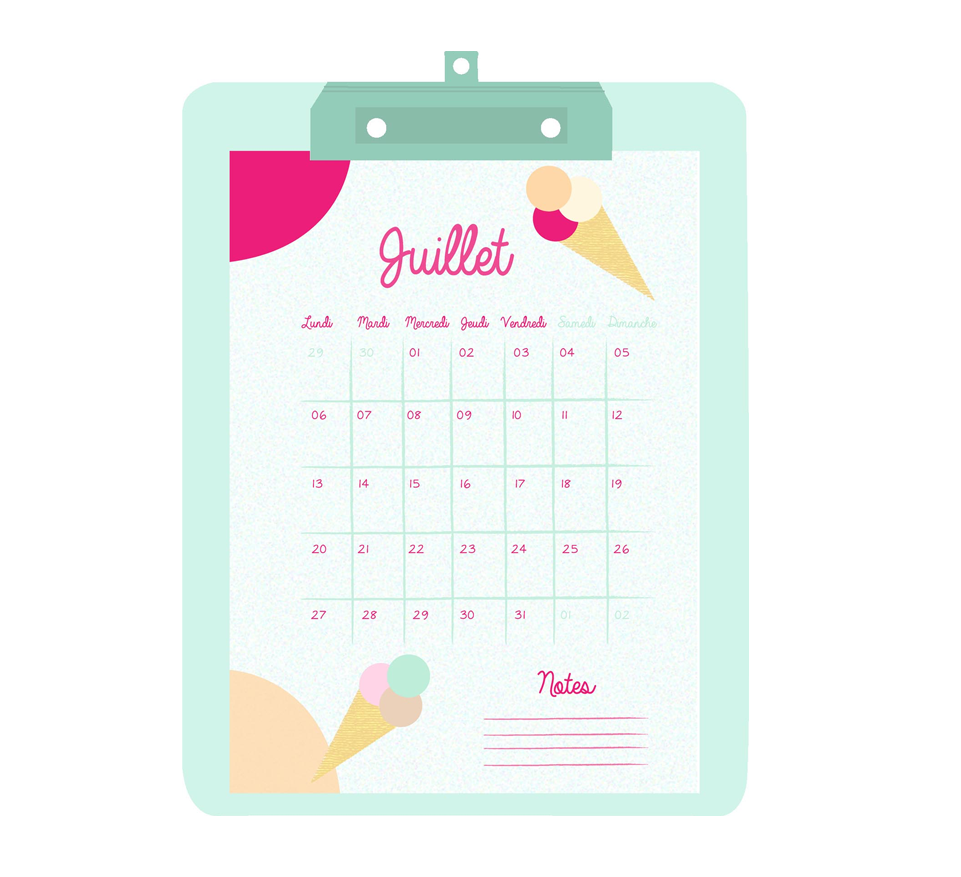 "Calendrier Free Printable Juillet 2015 - glaces - Imprimable - Création Entre ""Guillemets"" and co."