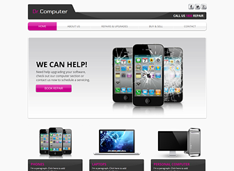 Computer Repair Template - Give your computer store an online presence with this sleek website template. Create an image gallery to showcase your products and add text to highlight your services. Design a website and watch your business grow!