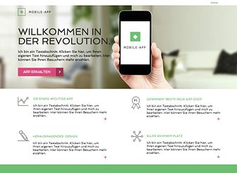 App-Landingpage Template - Eine Landingpage mit der Sie Ihre App der Welt vorstellen können! Zeigen Sie die Funktionen Ihrer App, fügen Sie Links zu Ihrer Website und sozialen Netzwerken hinzu und lassen Sie Auszeichnungen und Bewertungen für sich sprechen. Stellen Sie Ihr Unternehmen online!