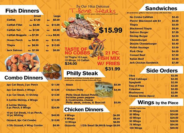No cobb 39 s menu for 801 fish menu