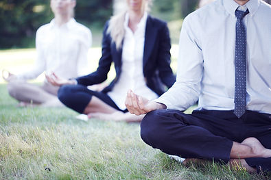 Business people practicing yoga in park.