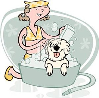 A_Colorful_Cartoon_Girl_Scrubbing_Her_Dog_In_a_Washtub_Royalty_Free_Clipart_Pict