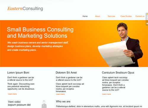 Small Biz Services Template - A professional website ideal for the small business or consultant looking to build a strong online presence. It's easy to customize images and colors, plenty of room for promoting your services and simple navigation makes it the perfect home for your business online.