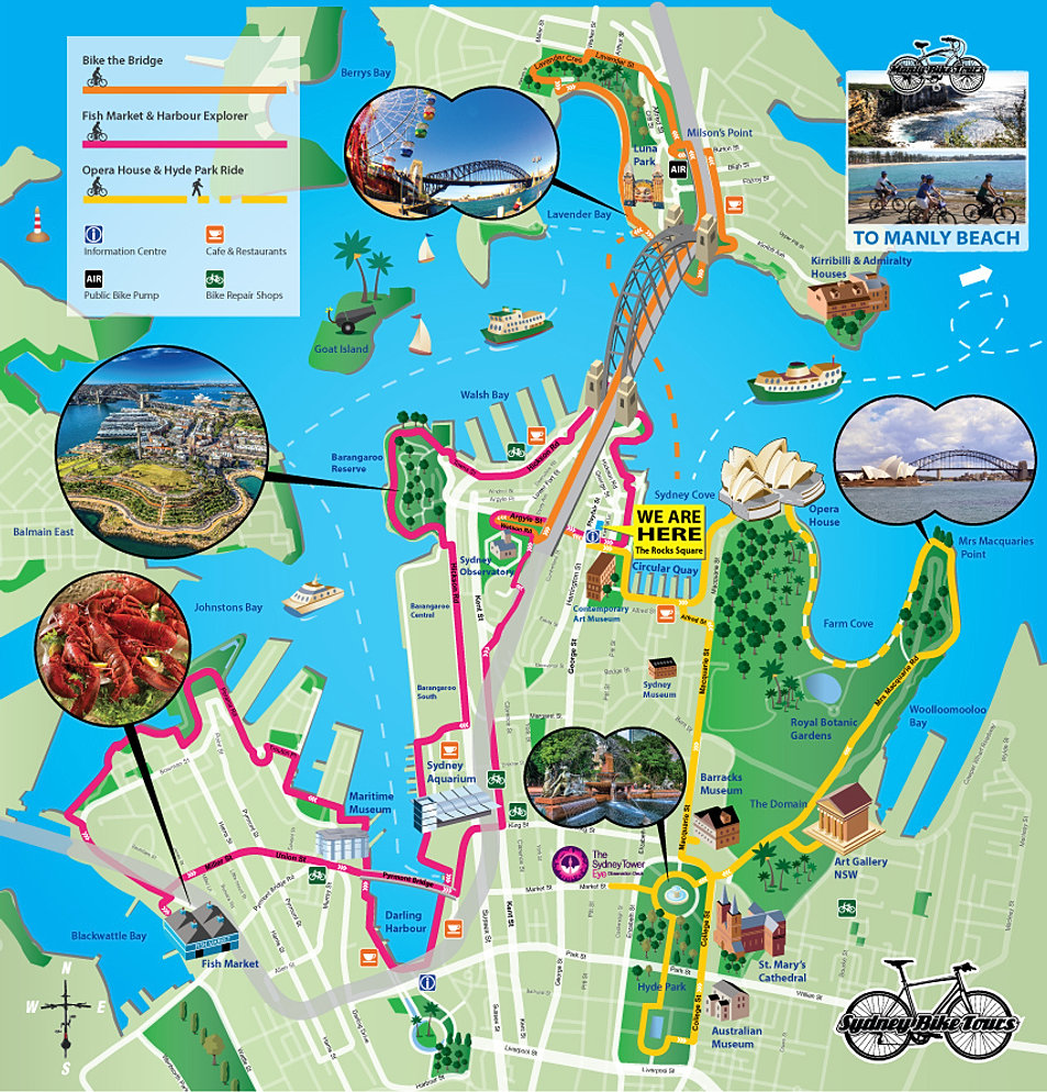 Sydney Bike Tours Bike Rental – Tourist Map of Sydney