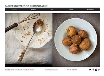 Food Photography Template - Minimal design makes a bold impact in this sleek photography template. The multiple image galleries let your creative work speak for itself. Customize the Bio page to let customers know about your services and experience.