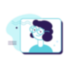 Illustration of a girl wearing binocular bioptic lenses