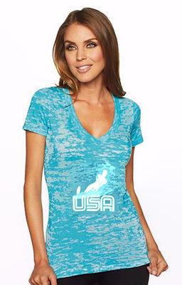 Women's Burnout USA V-Neck Tahiti Blue.jpg