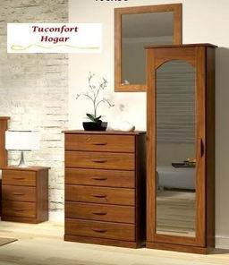 Zapatera en madera maciza con espejo tuconfort hogar for Disenos de zapateras de madera