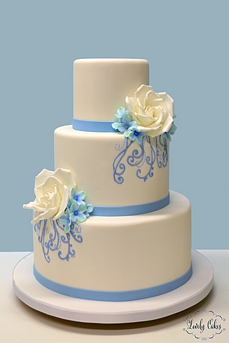 Lovely cakes wedding cakes w70 blue scrolls wedding cake junglespirit Gallery