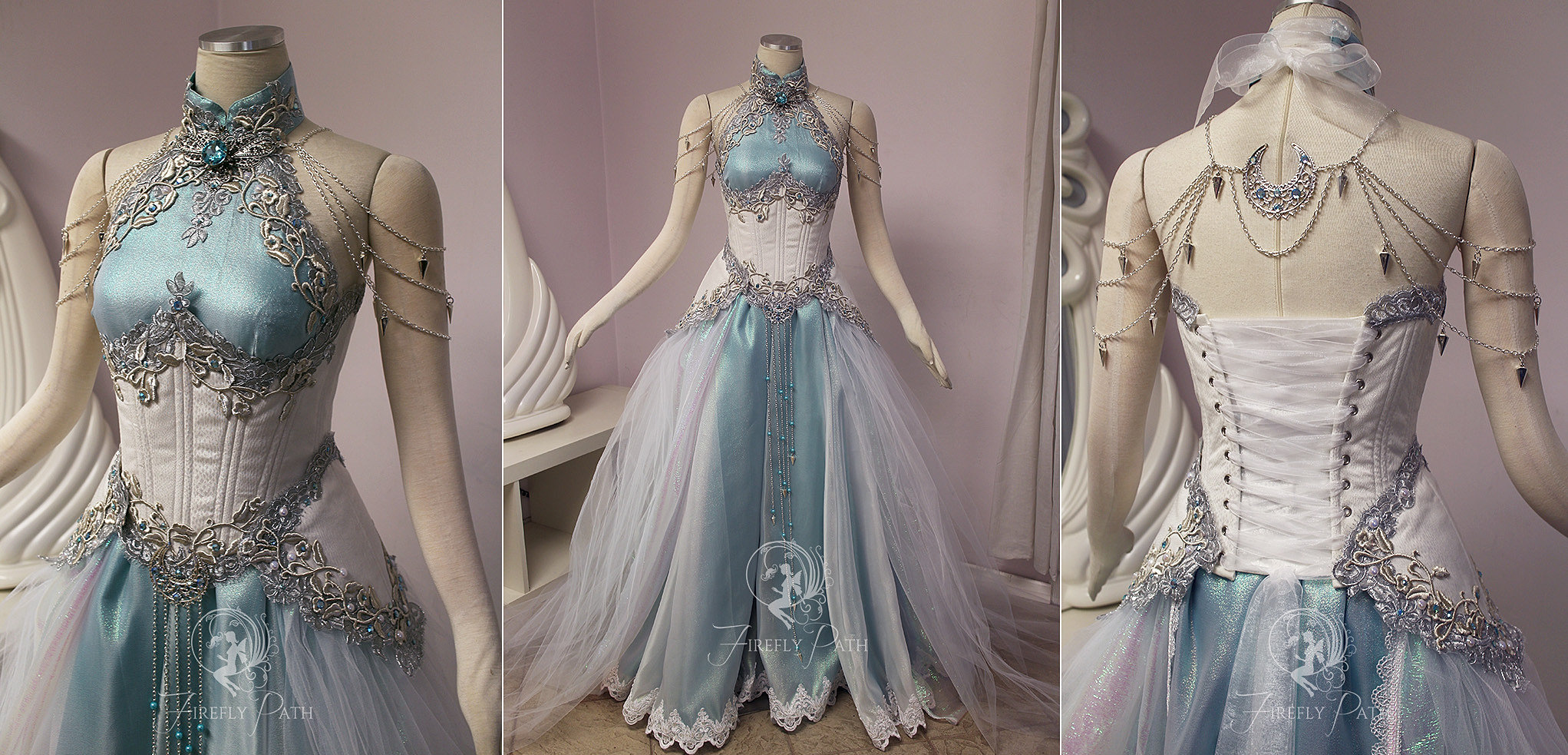 Fireflypathbridal moon light elf gown for Elven inspired wedding dresses