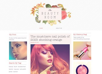 Beauty Blog Template - A beauty chic template for those with an eye for style. Perfect for fashion bloggers, the boxed layout gives you ample space for multimedia content. Start editing to create a stir online.