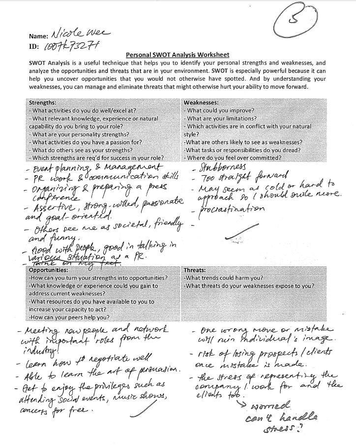 Personal SWOT Analysis Worksheet Assignment 4 – Swot Worksheet