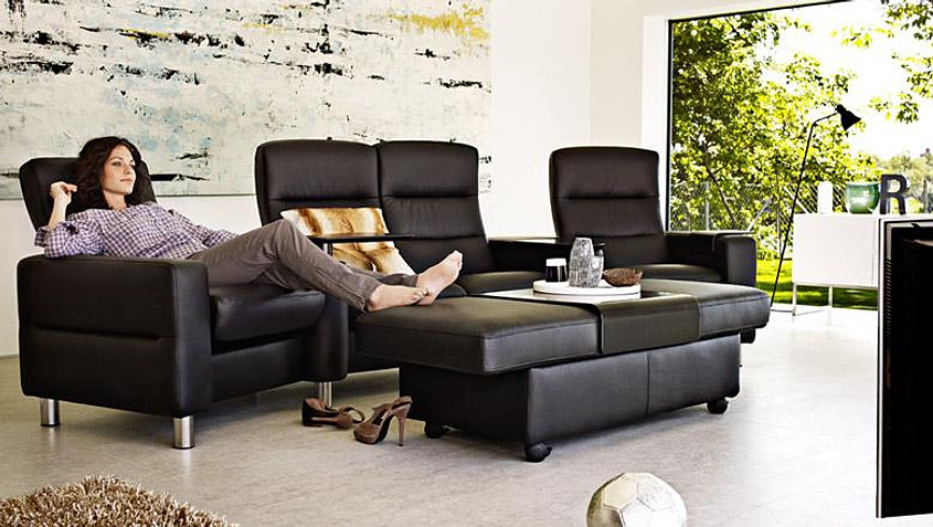 ekornes stressless wave home theater seating. Black Bedroom Furniture Sets. Home Design Ideas