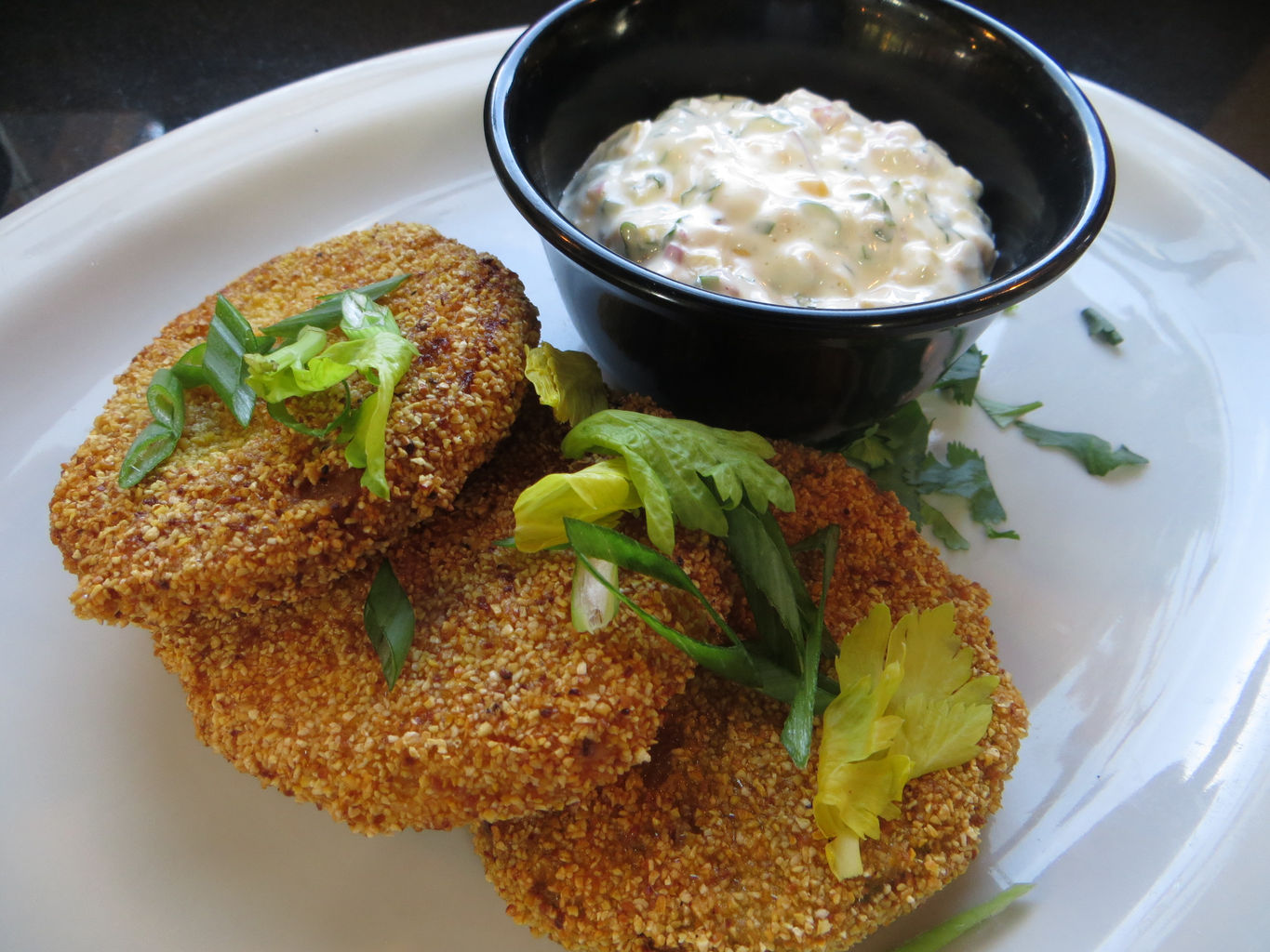 Fried Green Tomatoes with sweet corn remoulade.JPG