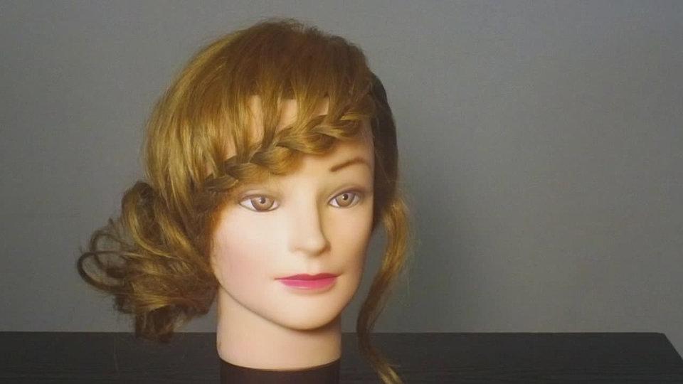 Косы на средние волосы с челкой своими руками видео