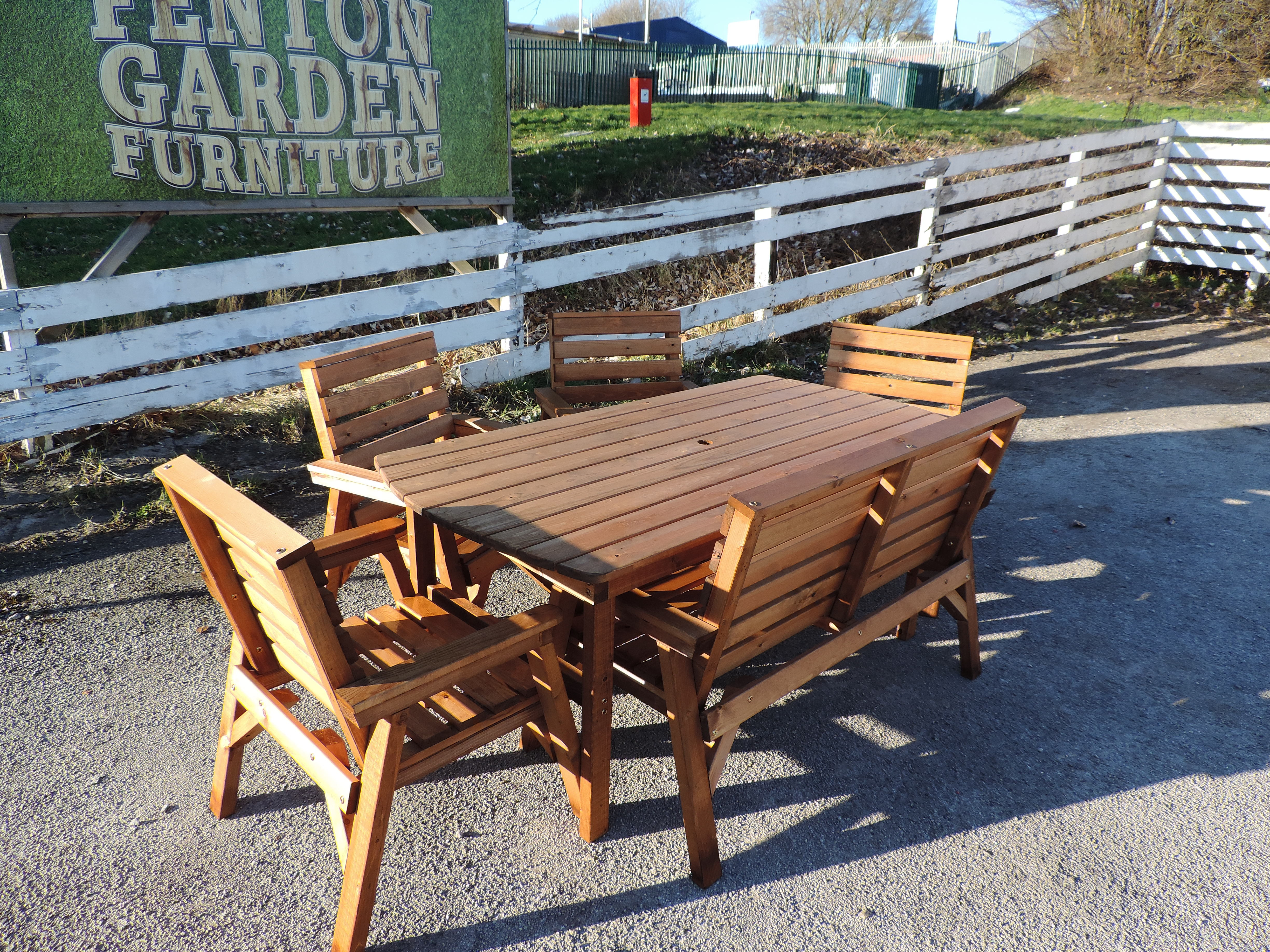 High Back Wooden Garden Furniture 6\' Table 1 Bench & 4 Chairs