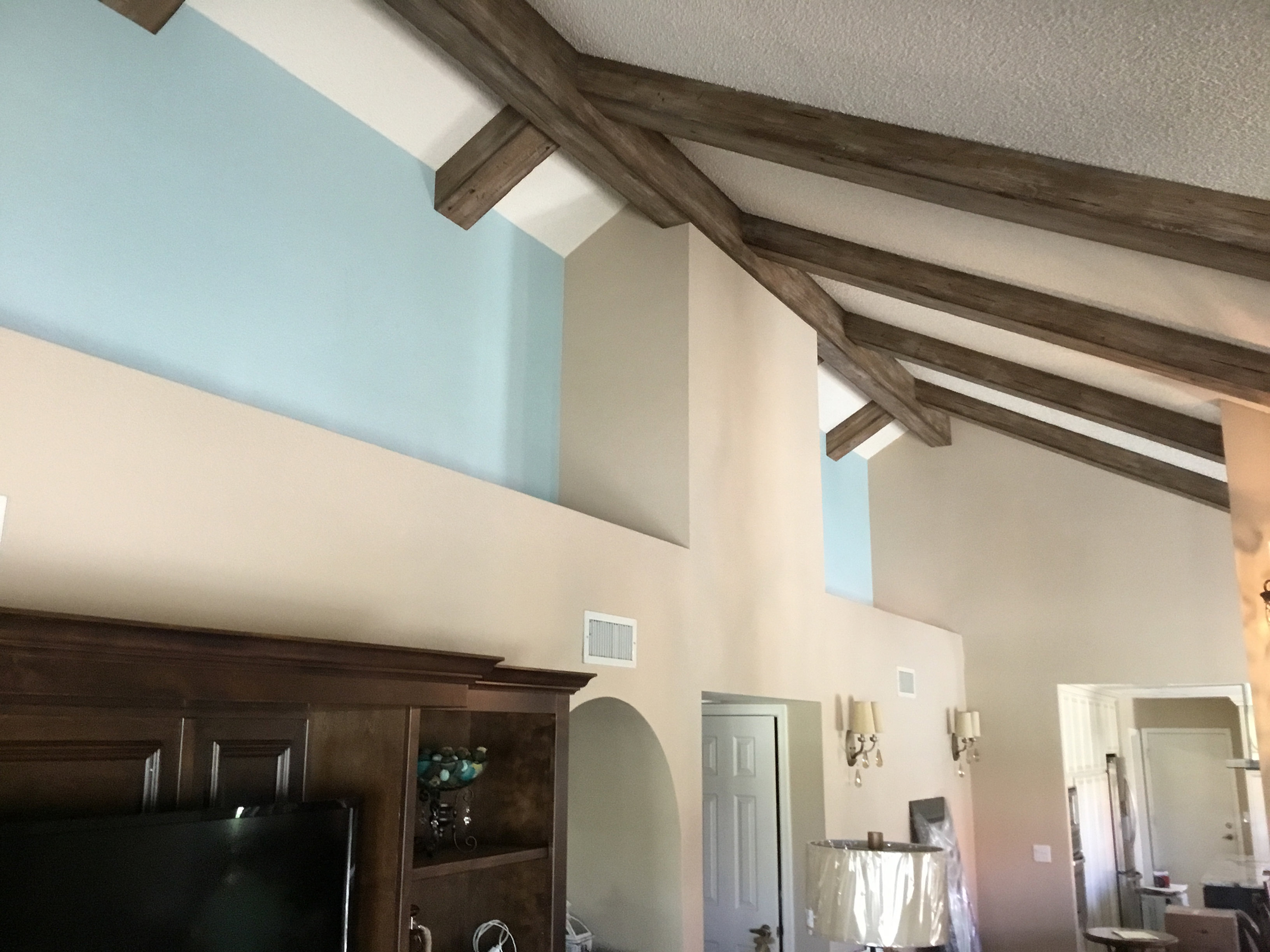Faux Wood Beams. Home Improvement Idea In The Kitchen Faux Ceiling ...