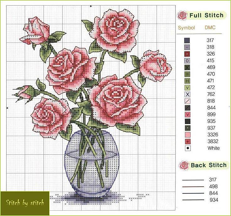 Схемы вышивок цветов в вазе