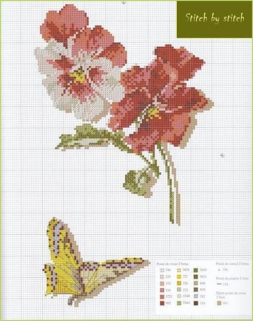 схема вишивки квіти метелик.