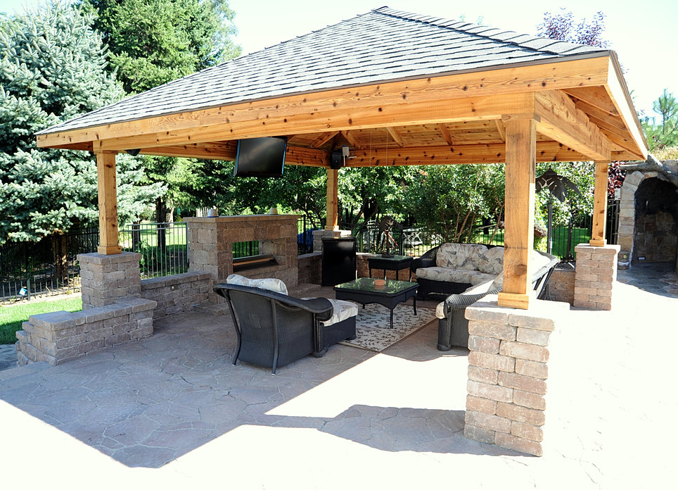 custom pavilion contractor pavilion outdoor tv pergola construction