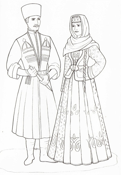 Азербайджанские костюмы раскраска