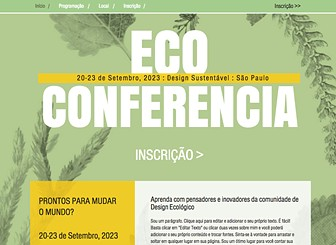 Eco Design Conference Template - Get your conference, event, or festival off the ground and into the cloud with this environmentally-friendly template. Add text and photos to excite your attendees and inform your audience. Customize your site with conference schedule, registration details, and contact information.
