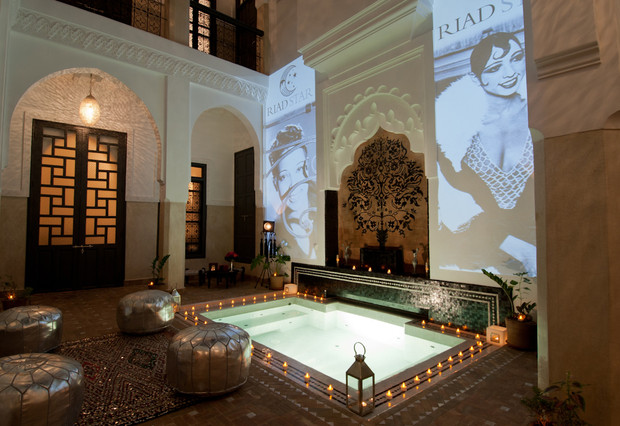 The Lobby Of The Hotel Riad Star In Marrakesh, Morocco. Josephine Baker  Lived Here During WWII. It Has Sense Been