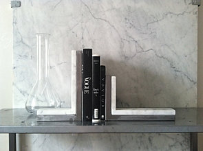 MATTHEW MARBLE & STEEL BOOKENDS