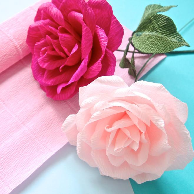Крепированная бумага розы на открытку