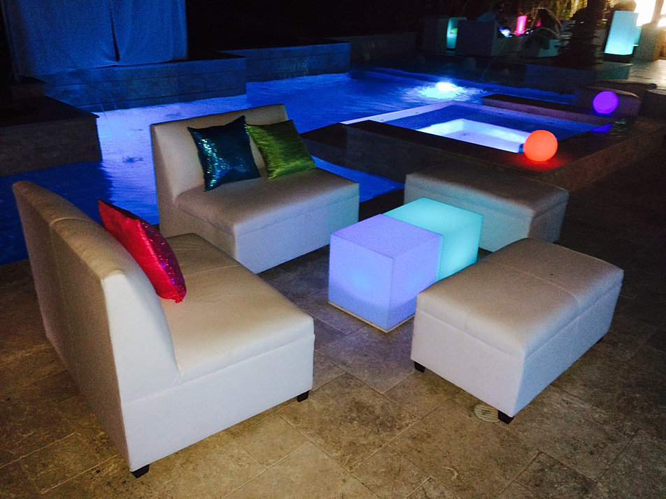 Elit lounge furniture party rentals led dance floor for Rent one furniture rental